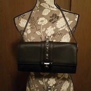 NWT Vince Camuto Black Leather Clutch